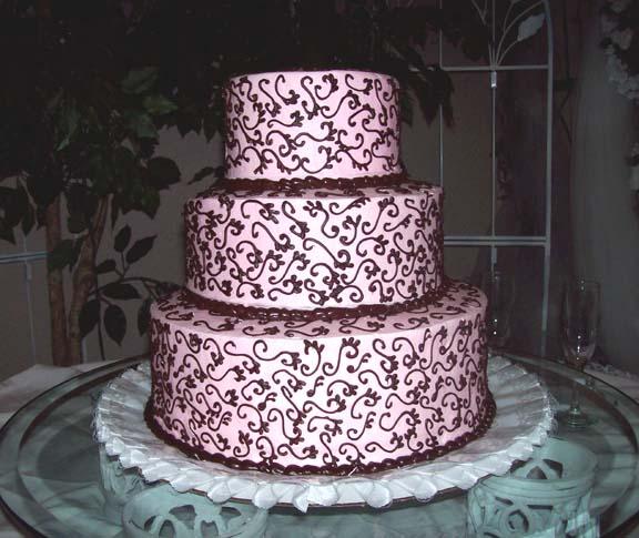 Pink Dark Chocolate Wedding Cake